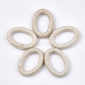 Handmade Woven Linking Rings, Paper Imitation Raffia Covered with Wood, Oval, Antique White, 41.5~43x31~32x7~9mm, Inner Measure: 27~29x16~18mm(X-WOVE-T006-001)