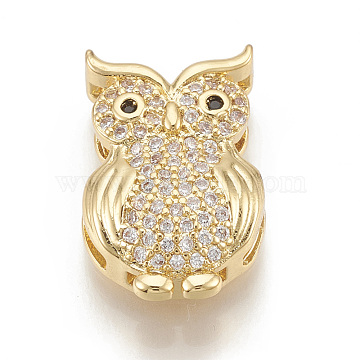 Real Gold Plated Clear Owl Brass+Cubic Zirconia Slide Charms