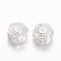Perles en alliage de fleurs, argenterie, 8x4mm, Trou: 1mm(PALLOY-L166-30S)