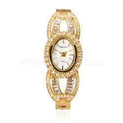 Валентина идеи для подруги высококачественной нержавеющей стали горный хрусталь наручные часы, кварцевые часы, золотые, 203x26 мм; головка часы: 29x36x11.5 мм(WACH-A004-07G)