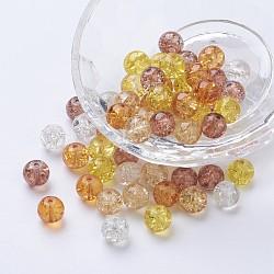 Perles de verre craquelé peintes, caramel mix, rond, couleur mixte, 8~8.5x7.5~8mm, trou: 1 mm; environ 100 PCs / sachet (DGLA-X0006-8mm-12)