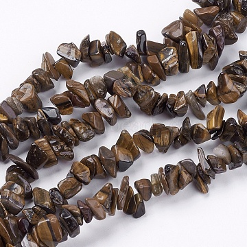 Natural Tiger Eye Stone Bead Strands, Chip, 4~10x4~6x2~4mm, Hole: 1mm, about 320pcs/strand, 35.4 inches(X-G-R192-19)