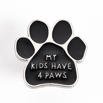 Alloy Enamel Brooches, Enamel Pins, with Brass Butterfly Clutches, Dog Paw Prints with Word My Kids Have A Paws, Cadmium Free & Nickel Free & Lead Free, Platinum, Black, 1x1 inch(24.5x25mm), Pin: 1mm(JEWB-S011-094-NR)