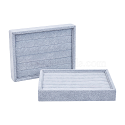 Wooden Cuboid Jewelry Rings Displays, Covered with Velvet, with Sponge Inside, Gainsboro, 20x15x3.15cm(RDIS-L001-01)
