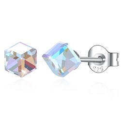 925 Sterling Silver Stud Earrings, with Austrian Crystal, Cube, Carved 925, Platinum, 001AB_Crystal AB, 4x4mm(EJEW-BB30560-F)