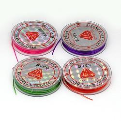 Chaîne de cristal élastique plat, Fil de cordon cordon de cristal, couleur mixte, 0.6 mm; 10 m / rouleau(EW-F001-M)