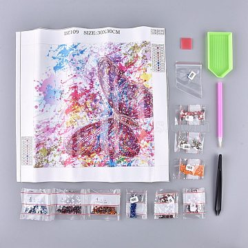 5D DIY Diamond Painting Stickers Kits For Kids, with Diamond Painting Stickers, Resin Rhinestones, Diamond Sticky Pen, Tweezers, Tray Plate and Glue Clay, Butterfly, Mixed Color, 29.9x31cm(DIY-R076-013)