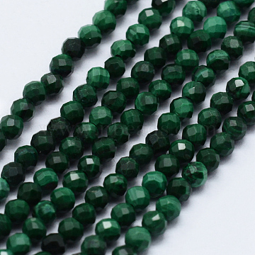 Natural Malachite Beads Strands, Faceted, Round, 2~2.5mm, Hole: 0.5mm, about 195~208pcs/strand, 15.7 inches(40cm)(X-G-J369-21-2mm)