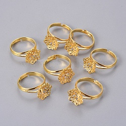 Adjustable Brass Filigree Ring Components, Golden, 17mm(X-KK-G116-G)