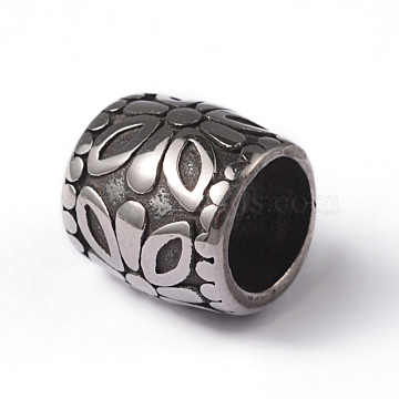304 Stainless Steel Large Hole Beads, Rondelle, Antique Silver, 12x12mm, Hole: 8mm(X-STAS-M268-03)