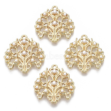 Alloy Pendants, with ABS Plastic Imitation Pearl, Tree, with Heart, White, Light Gold, 20x20x3.5mm, Hole: 1.4mm(PALLOY-S132-102)