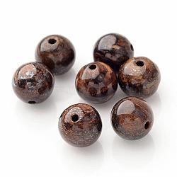perles rondes en bronzite naturelle, café, 6 mm, trou: 1 mm(X-G-P059A-01)