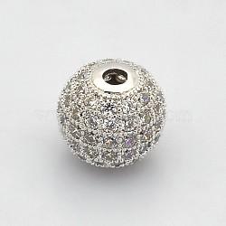 Perles rondes de couleur claire de zircone cubique CZ de grade AAA de micro pave, Sans cadmium & sans nickel & sans plomb, platine, 6mm, Trou: 1mm(KK-O065-6mm-05P-NR)