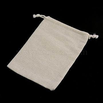 Cotton Packing Pouches Drawstring Bags, Wheat, 11x9.5cm(X-ABAG-R011-10x12)