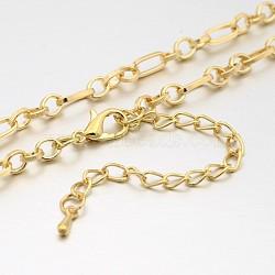 """Fer chaîne figaro étoffe collier, avec des agrafes en alliage pince de homard et chaînes embouts de fer, couleur or et de lumière, 29.9""""(MAK-J004-24KCG)"""
