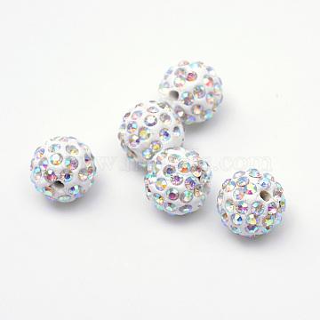 Perles en strass pavé d'argile polymère, perles de boule de disco, cristal ab, 12mm, Trou: 1.5mm(X-RB-Q197-12mm-14)