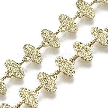 Brass Oval Link Chains, for Jewelry Making, Long-Lasting Plated, Textured, Unwelded, Light Gold, 6.5x8x2.5mm(CHC-N018-053)