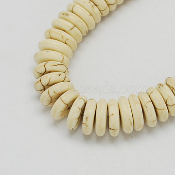 Synthetical Turquoise Beads, Heishi Beads, Flat Round/Disc, White, 10x3mm, Hole: 1.5mm(X-TURQ-S195-10mm-1)