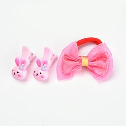 Kits d'accessoires de cheveux pour beaux enfants, pinces à cheveux en alligator en plastique et élastiques à cheveux, avec résine de lapin et nœud papillon en dentelle, couleur mixte, 31.5mm; attaches de cheveux: 1pc, clip: 2 pcs / sac; 10 sacs / groupe(OHAR-S193-19)