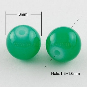 Sea Green Color Spray Painted Round Imitation Jade Glass Beads Strands, 6mm; Hole: 1.3~1.6mm, about 133pcs/strand, 31.4inches(X-DGLA-S076-6mm-15)