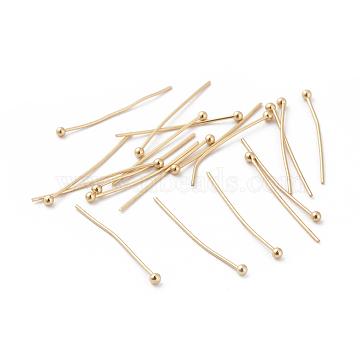 Brass Ball Head Pins, Real 18K Gold Plated, 24x0.5mm, Head: 2mm(X-KK-S348-208)