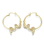 Brass Micro Pave Cubic Zirconia Hoop Earrings, Nickel Free, Snake, Real 16K Gold Plated, Clear, 45.5x37x4mm, Pin: 1mm