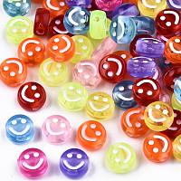 perles acryliques transparents, plat rond avec visage souriant blanc, couleur mélangée, 10x5 mm, trou: 2 mm