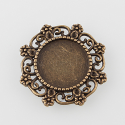 Millésime filigrane alliage d'enveloppement plats supports de cabochons rond, sans nickel, bronze antique, bac: 14.5 mm; 25x27x2 mm; adapter pour 1 mm strass(X-PALLOY-N0088-65AB-NF)