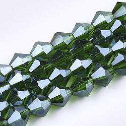 perles en verre plaquent brins, lustre perle plaqué, facettes, Toupie, darkgreen, 6x5.5~6 mm, trou: 1 mm; environ 50 perle / brin, 11.02(X-EGLA-Q118-6mm-A11)