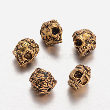 Tibetan Style Alloy Beads, Skull, Antique Golden, 9x6x10mm, Hole: 1mm(PALLOY-E422-02AG)