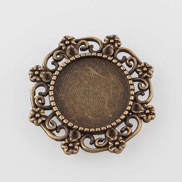 Vintage Filigree Wrap Alloy Flat Round Cabochon Settings, Cadmium Free & Nickel Free & Lead Free, Antique Bronze, Tray: 14.5mm, 25x27x2mm, Fit for 1mm Rhinestone(X-PALLOY-N0088-65AB-NF)