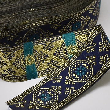 Polyester Ribbons, Leaf Pattern, Jacquard Ribbon, Medium Blue, 1-1/4 inches(33.5mm), about 33yards/roll(30.1752m/roll)(OCOR-L018-36C)