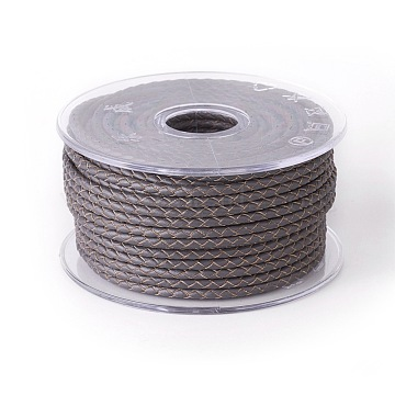 Braided Cowhide Cord, Leather Jewelry Cord, Jewelry DIY Making Material, Dark Gray, 6mm, about 16.4 yards(15m)/roll(WL-I004-6mm-22)