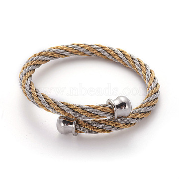 304 Stainless Steel Torque Bangles, Cuff Bangles, Golden & Stainless Steel Color, 2-1/4 inches(5.6cm)(X-BJEW-L642-21GP)