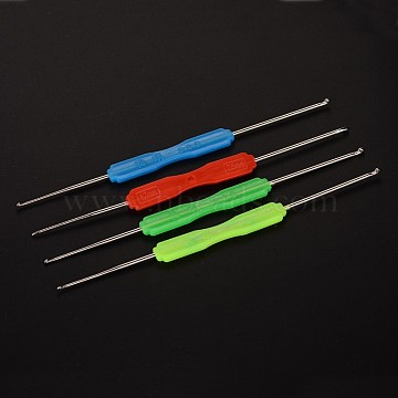 Iron Crochet Hooks, with Plastic Findings, Mixed Color, 15.7x0.2~1cm(AJEW-L037-04)