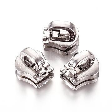 Zinc Alloy Zipper Puller, Garment Accessories, Platinum, 12.8x11.3x11mm, Hole: 6x2.7mm(PALLOY-WH0067-96A)