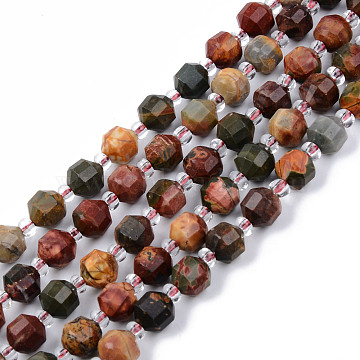 Natural Picasso Stone/Picasso Jasper Beads Strands, Round, Faceted, 7~8x8mm, Hole: 1.2mm; about 38~40pcs/strand, 15.16inches(38.5cm)(G-R482-19-8mm)