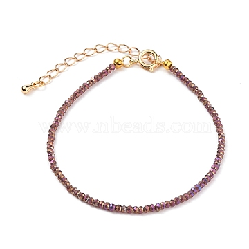 Faceted Electroplate Glass Beaded Bracelets, with Golden Plated Brass Spring Ring Clasps, Rondelle, Rosy Brown, 7-1/2 inches(19cm)(X-BJEW-JB05693-03)