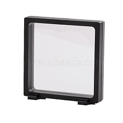Plastic Frame Stands, with Transparent Membrane, For Ring, Pendant, Bracelet Jewelry Display, Rectangle, Black, 11x11.5x3.5cm(X-ODIS-N010-04A)