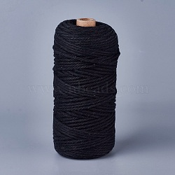 Fil de coton pour la fabrication de bijoux, noir, 3 mm; environ 100 m/rouleau(OCOR-WH0034-A-02)