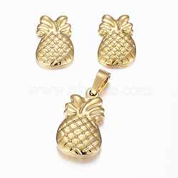 304 ensembles de bijoux en acier inoxydable, pendentifs et boucles d'oreille, ananas / ananas, or, 18x11x3.5 mm, trou: 5x3 mm; 13.5x9x2 mm, pin: 0.8 mm(X-SJEW-H116-19G)