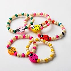 Bracelets de bois extensibles pour enfants, Les cadeaux de jour pour enfants, avec la couleur aléatoire perles de coccinelle, couleur mixte, 45mm(X-BJEW-JB01265)
