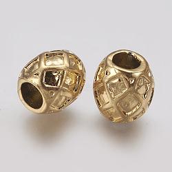 Supports d'émail en perle européenne en 304 acier inoxydable, Perles avec un grand trou   , tambour, or, 11x11mm, Trou: 4.5mm(STAS-J022-021G)