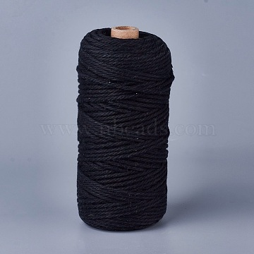 Cotton String Threads for Jewelry Making, Macrame Cord, Black, 3mm, about 109.36 yards(100m)/roll(OCOR-WH0034-A-02)