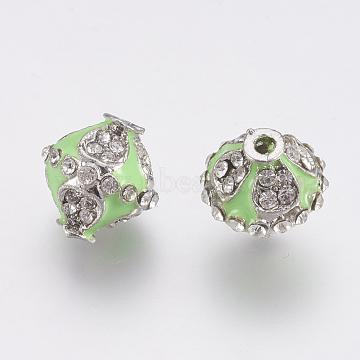 Platinum LightGreen Bicone Alloy+Enamel Beads