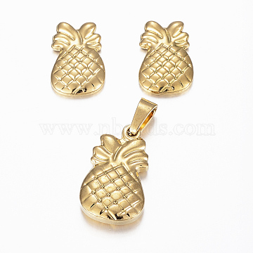 304 Stainless Steel Jewelry Sets, Pendants and Stud Earrings, Pineapple/Ananas, Golden, 18x11x3.5mm, Hole: 5x3mm, 13.5x9x2mm, Pin: 0.8mm(X-SJEW-H116-19G)