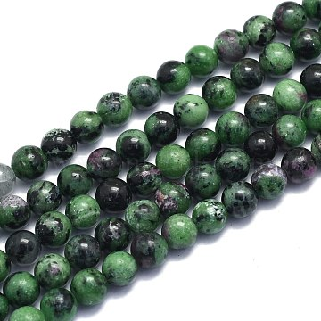 Natural Ruby in Zoisite Beads Strands, Round, Alice Blue, 8~8.5mm, Hole: 0.8mm; about 46pcs/Strand, 15.08 inches(38.3cm)(G-K310-C10-8mm)