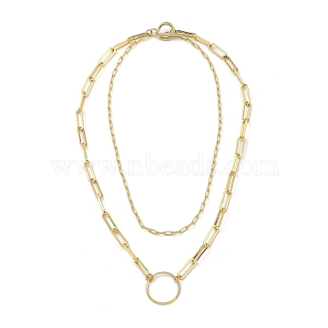 Brass Paperclip Chain Double Layer Necklaces, with 304 Stainless Steel Toggle Clasps, Ring, Golden, 13.97 inches(35.5cm)(NJEW-JN03054)
