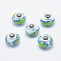 Turquoise Rondelle Polymer Clay European Beads(CLAY-K002-A41)