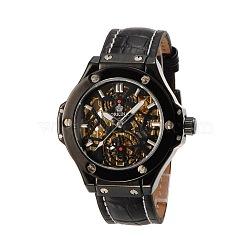 Высокое качество мужские кожаные нержавеющей стали механические наручные часы, чёрные, 260x22 мм; голова часов : 55x54x15 мм; лицо часов : 34 мм(WACH-N032-06B)